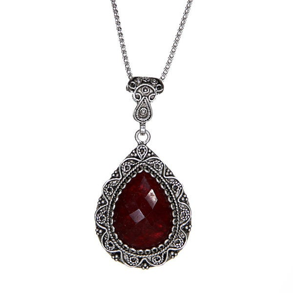 Ruby Silver Filigree Teardrop Pendant