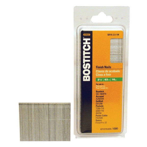Bostitch Stanley SB16-2.50 2.5-inch Coated 16 Gauge Straight Finish Nails (Pack of 2500)