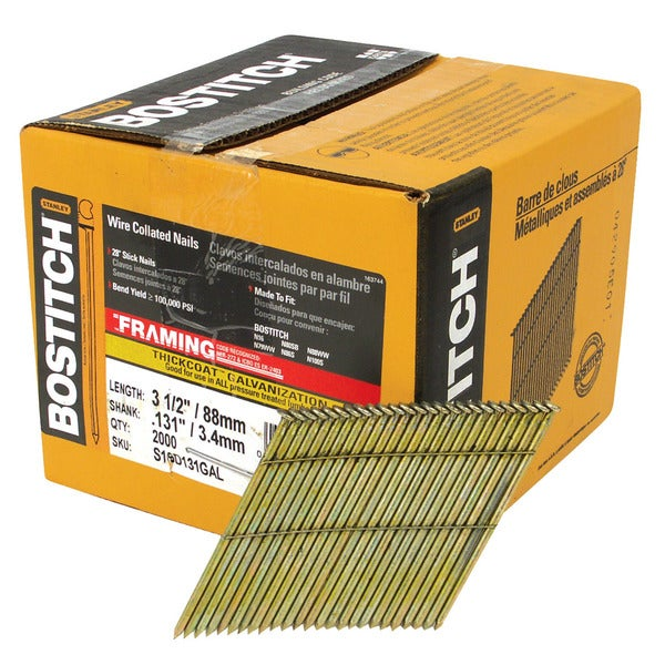 Bostitch Stanley S16D131GAL-FH 3.5-inch 28-degree Wire Collated Stick Framing Nails (Pack of 2000)