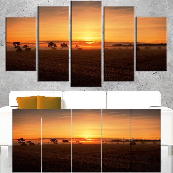 Sunrise at Farmland Bales - Landscape Artwork Canvas