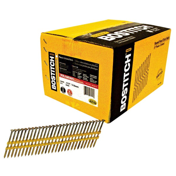 Bostitch Stanley RH-S8D113HDG 2-3/8-inch Smooth Shank 21-degree Stick Framing Nails (Pack of 5000)