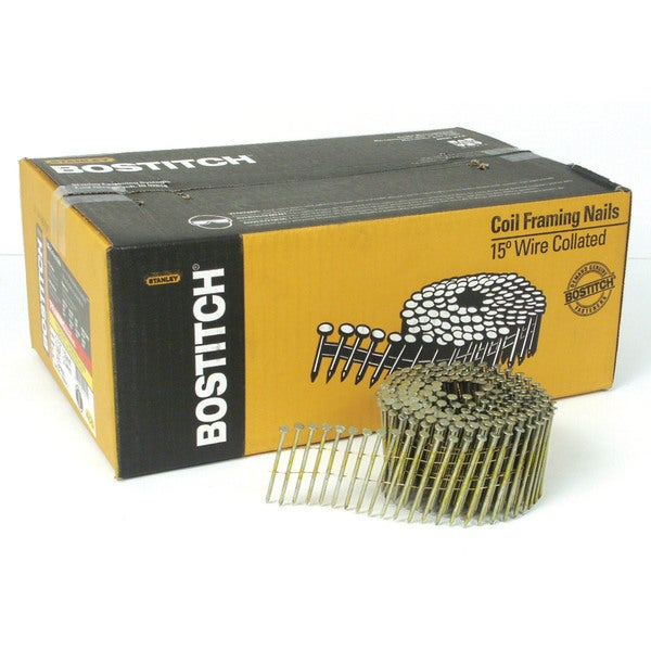 Bostitch Stanley C8P99DG 2.5-inch Smooth Shank 15-degree Coil Framing Nails (Pack of 3600)