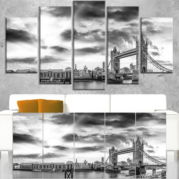 Black and White View of London Panorama - Cityscape Canvas print