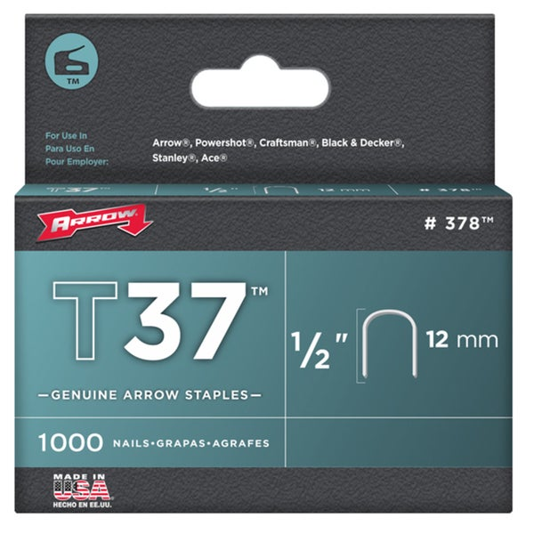 Arrow Fastener 378 1/2-inch T37 Divergent Point Staples (Pack of 1000)