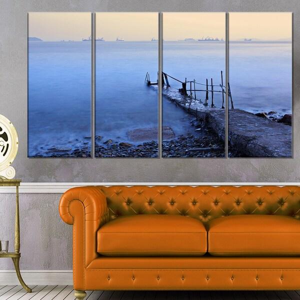 Abandoned Pier into Blue Sea - Sea Bridge Canvas Wall Artwork