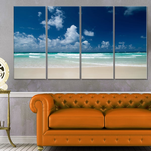 Bright Blue Sky on Winter Day - Large Seashore Canvas Print