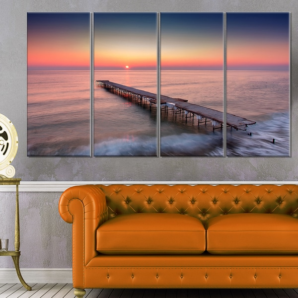 Long Exposure Sea and Shore - Sea Bridge Canvas Wall Artwork