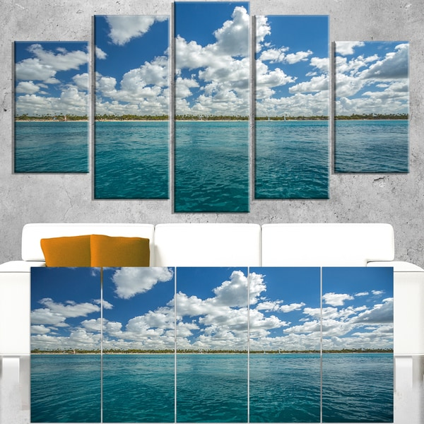 White Fluffy Clouds Over Sea - Oversized Beach Canvas Artwork
