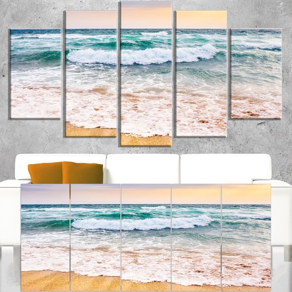 Foaming Waves Splashing the Sand - Seashore Canvas Wall Art
