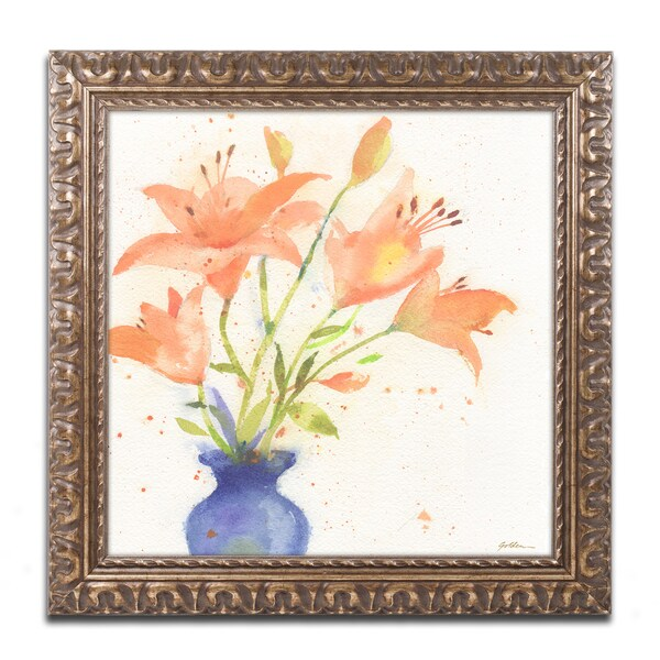 Sheila Golden 'Tiger Lily Bouquet' Ornate Framed Art