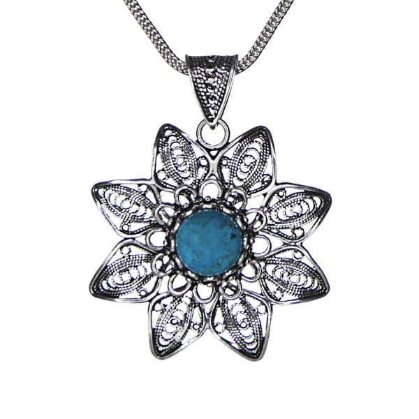 Sterling Silver Turquoise Filigree Star Pendant