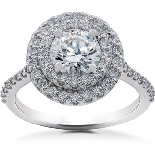 14k White Gold 1ct TDW Halo Eco-Friendly Lab Grown Diamond Engagement Ring (F-G, SI1-SI2)