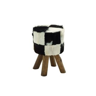 Wood and Leather Hide 18-inch High x 12-inch Wide Stool