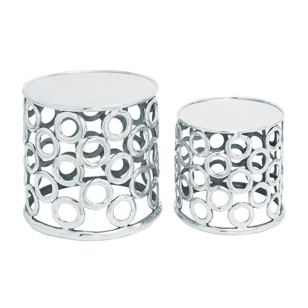 Metallic Silver Aluminum Stool (Set of 2)