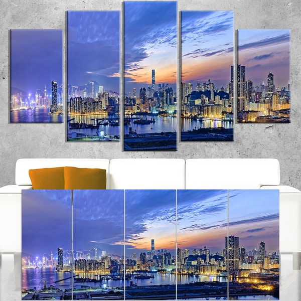 Hong Kong City Sunset Panorama - Cityscape Artwork Canvas