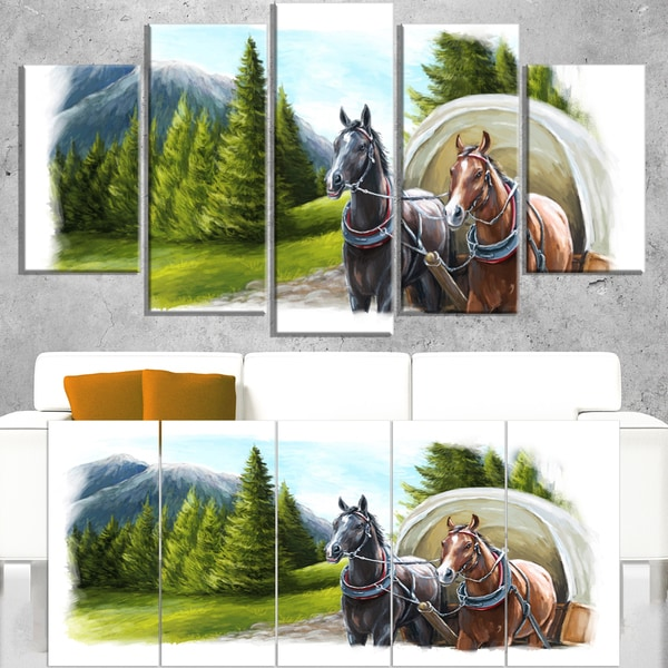 Road in Mountains with Horses - Landscape Wall Art Canvas Print