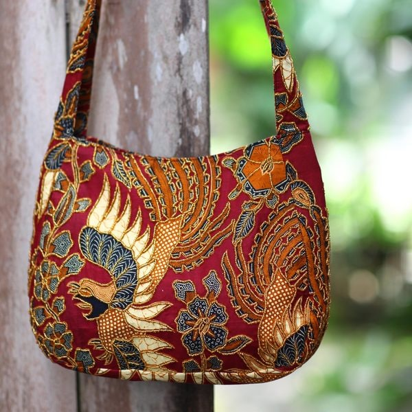 Handcrafted Beaded Cotton Batik 'King's Bird' Shoulder Bag (Indonesia)
