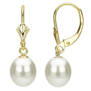 DaVonna 14k Yellow Gold Akoya Pearl Leverback Earrings with Gift Box (8-9 mm)