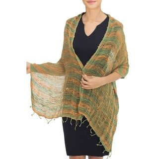 Handcrafted Cotton 'Breezy Green and Ginger' Shawl(Thailand)