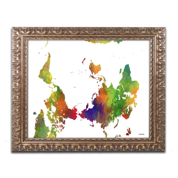 Marlene Watson 'Upside Down Map of the World Clr 1' Ornate Framed Art