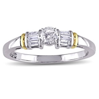 Miadora 10k White Yellow Gold 3/8ct TDW Round and Tapered Baguette Diamond 3-Stone Engagement Ring (G-H, I2-I3)