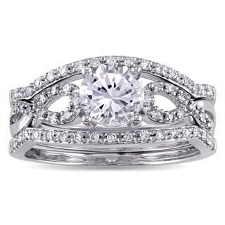 Miadora Signature Collection 10k White Gold Created White Sapphire and 1/4ct TDW Diamond Infinity 3-Pc Bridal Set (G-H, I1-I2)