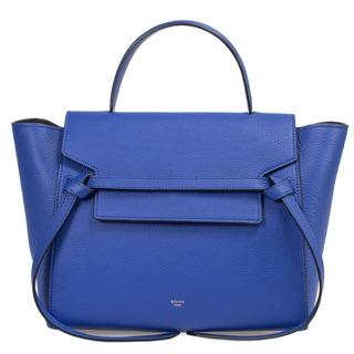 Celine Medium Blue Grained Calfskin Leather w/ Gold Hardware Belt Bag Handbag