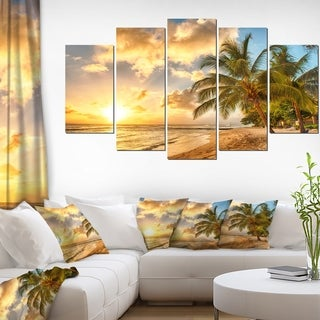 Gorgeous Beach of Island Barbados - Modern Seascape Canvas Artwork