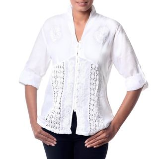 Handcrafted Cotton 'Peaceful White' Blouse (India)