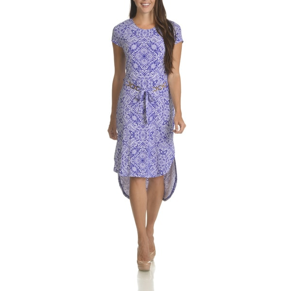 Nina Leonard Women's Paisley Print Chain-belted Dress