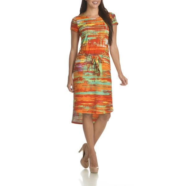 Nina Leonard Women's Abstract Print Chain Belted Dress