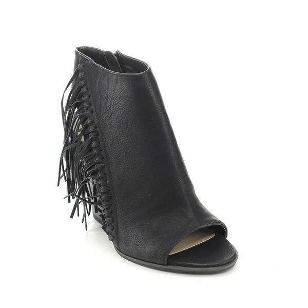 C Label Alamo-2 Women's Boho Fringe Side Zip Stacked Chunky Heel Ankle Booties Size 10 in Grey (As Is Item)