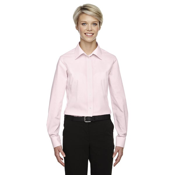 Crown Women's Collection Gingham Check Pink Shirt