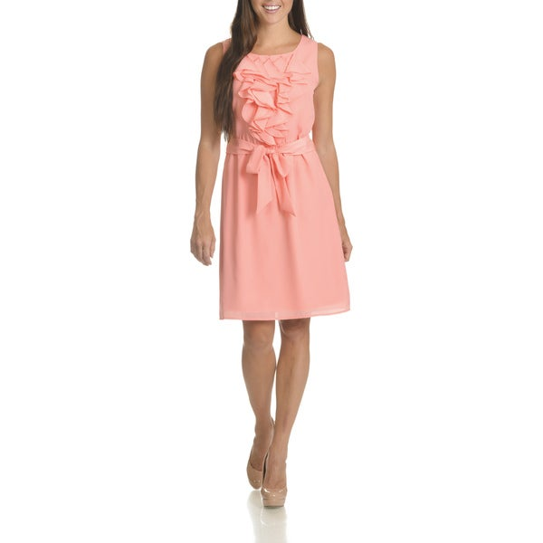 Nina Leonard Women's Coral/Ivory Ruffle Front Belted Dress