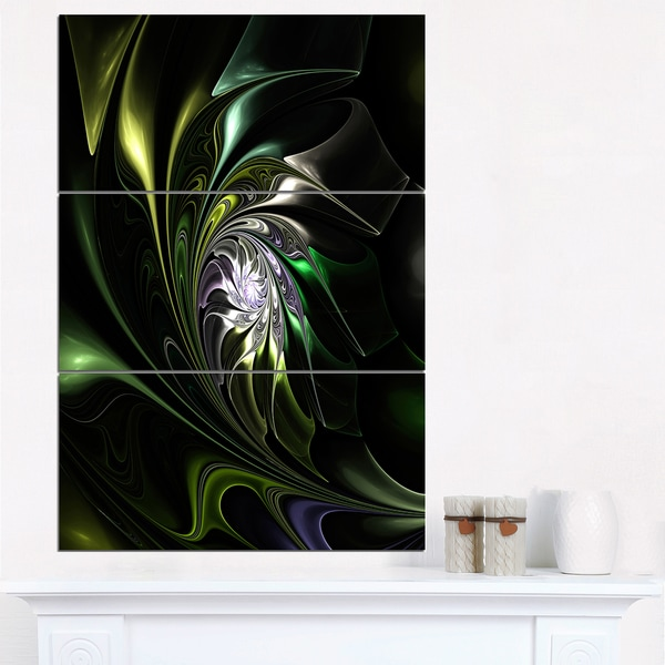 Multi-Colored Green Stained Glass - Floral Canvas Artwork Print