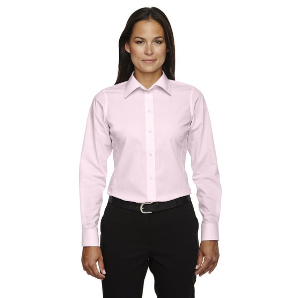 Crown Collection Women's Banker Dress Stripe Pink Shirt