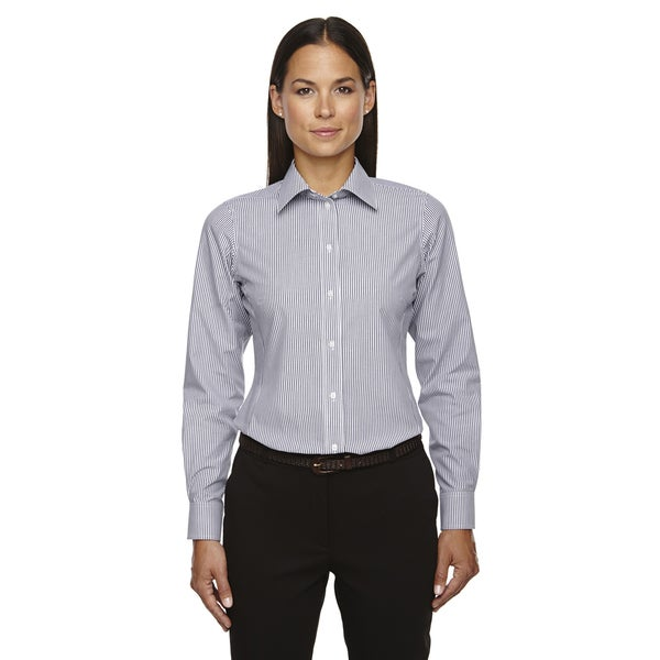 Crown Collection Women's Banker Dress Stripe Navy Shirt