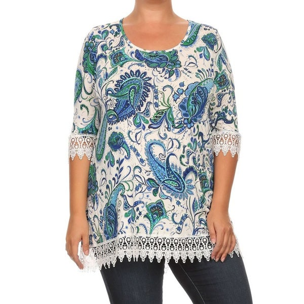 Women's Blue Paisley Polyester/Spandex Plus-size Tunic