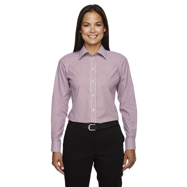 Crown Collection Women's Banker Dress Stripe Burgundy Shirt