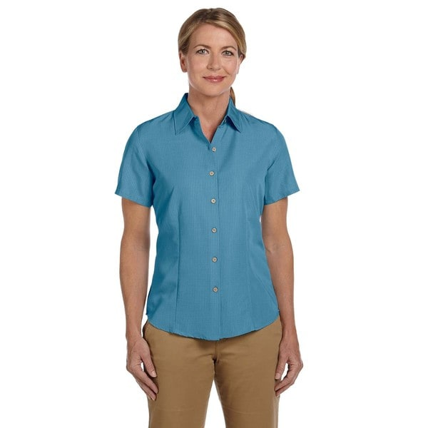 Barbados Women's Textured Camp Cloud Blue Shirt