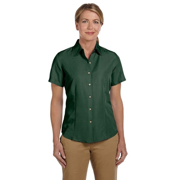 Barbados Women's Textured Camp Palm Green Shirt