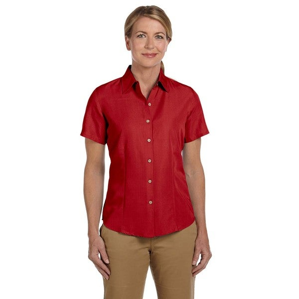 Barbados Women's Textured Camp Parrot Red Shirt