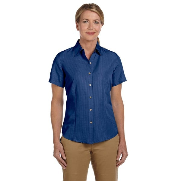 Barbados Women's Textured Camp Pool Blue Shirt