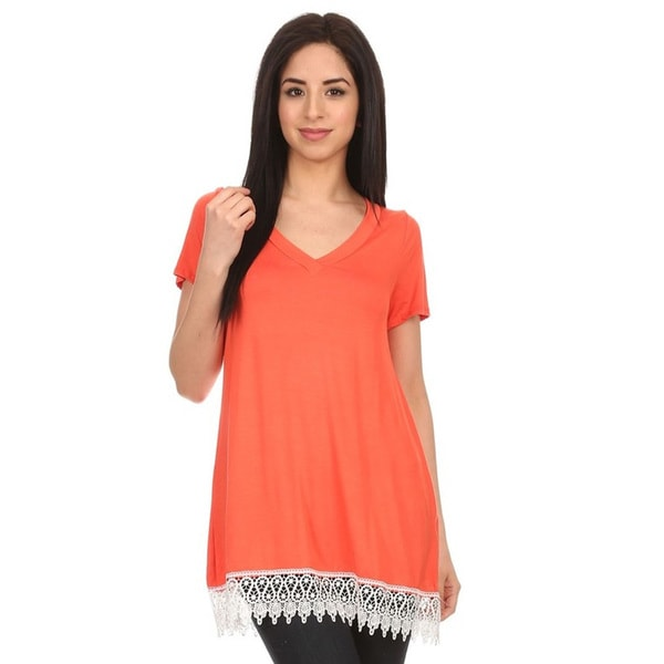 Women's Crochet Lace Trim Top