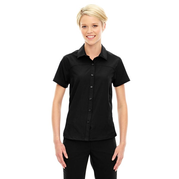 Charge Women's Recycled Polyester Performance Short-Sleeve Black 703 Shirt
