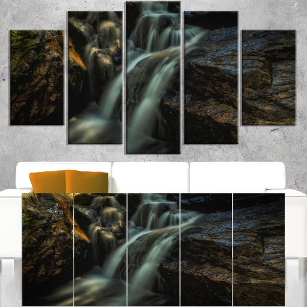 Slow Motion Waterfall in Summer - Landscape Art Canvas Print