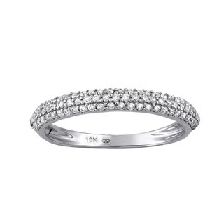 Beverly Hills Charm 10k White Gold 2/5ct TDW Diamond Anniversary Dome Band Ring (H-I, I2-I3)