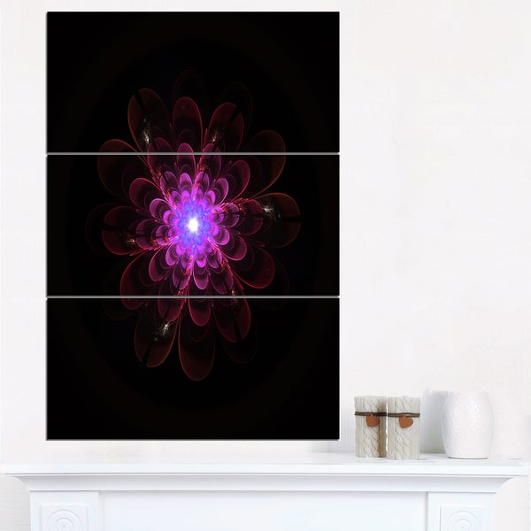 Glowing Fractal Flower Pink on Black - Floral Canvas Artwork Print