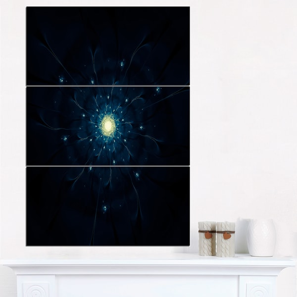 Glowing Fractal Flower Blue on Black - Floral Canvas Artwork Print