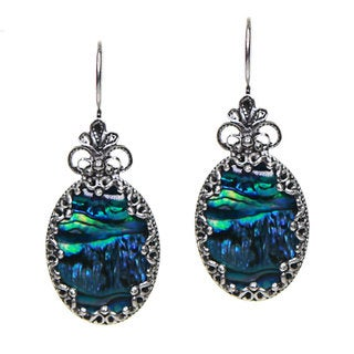 Blue Abalone and Sterling Silver Filigree Earrings